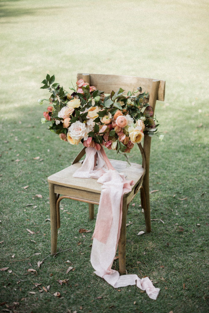 Pink, yellow, and orange wedding flowers